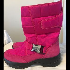 Coach bright pink boots. Vibram soles. Size 9 1/2
